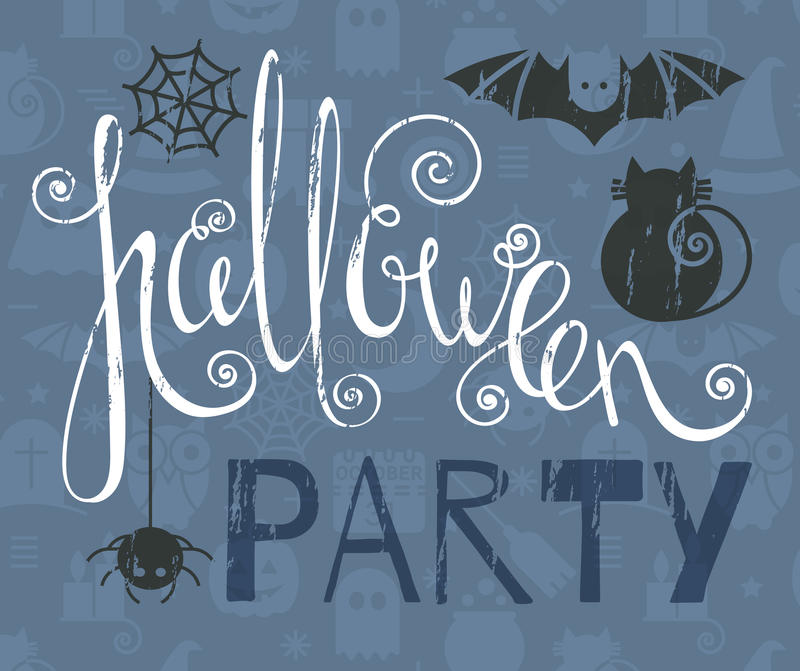 Halloween party vintage grunge poster vector illustration