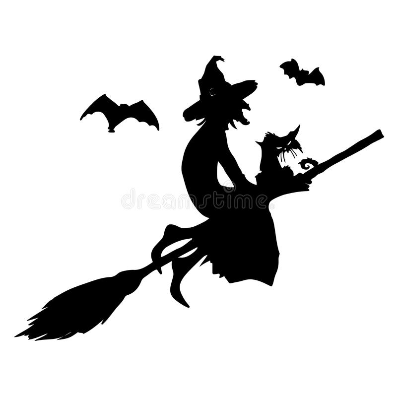 Halloween party.Witch with a cat on a broom and bats. Halloween poster. royalty free illustration