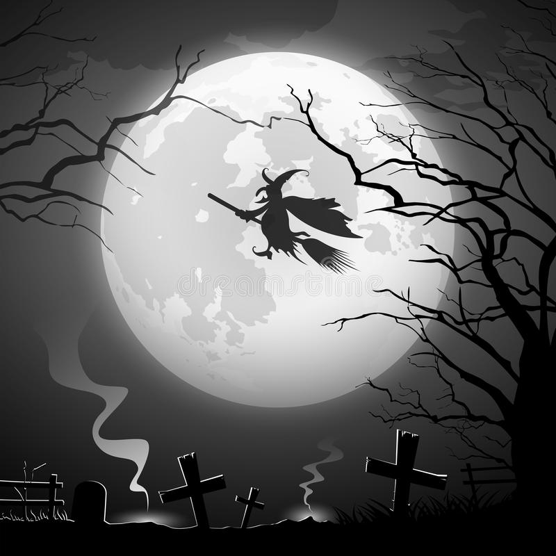 Halloween party witch ride concept scary design stock illustration