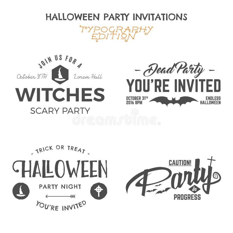 Halloween 2016 partyjnych zaproszenie etykietki szablonów z wakacyjnymi symbolami czarownica kapelusz, nietoperz i typografia ele royalty ilustracja