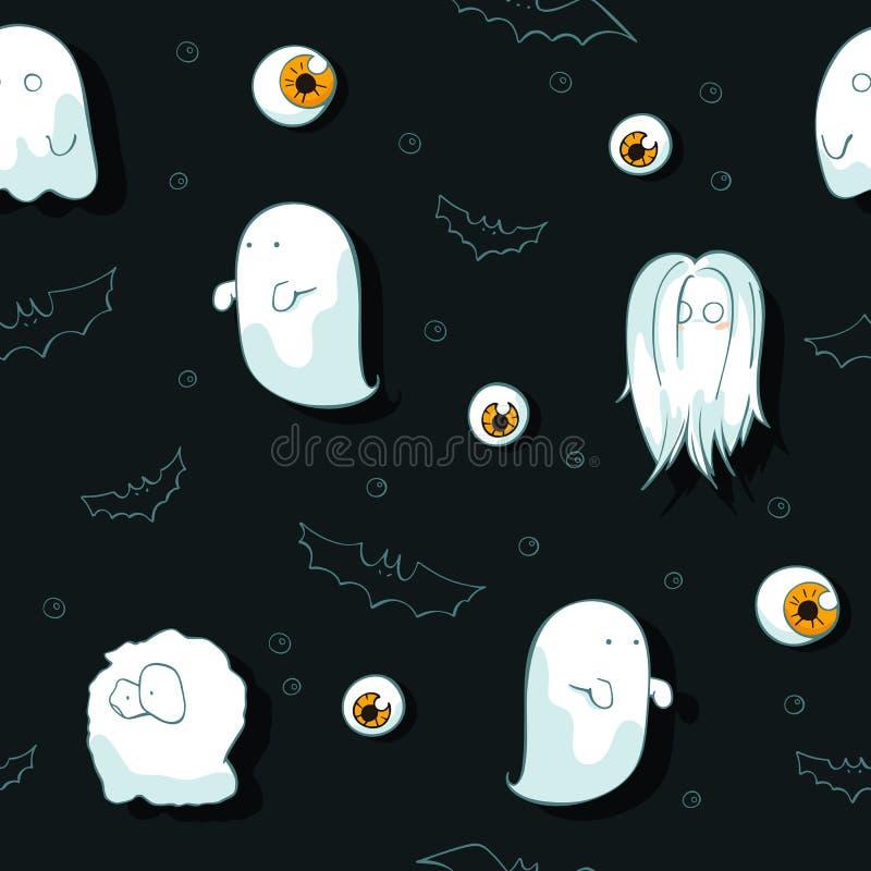 Halloween-patroon met spoken, knuppels en ogen op donkere achtergrond Naadloze vectorhand getrokken Halloween-krabbelreeks stock illustratie