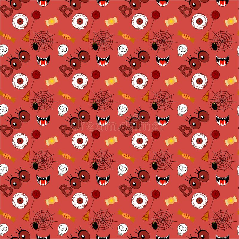 Halloween pattern, red background with images - holiday hat, lettering, spider web, sweets, lollipop, fangs, vampire stock illustration