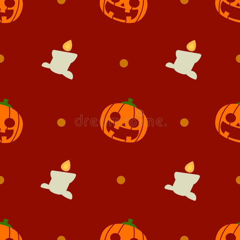 Halloween pattern and wallpaper for gift and present on Halloween day. Pumpkins and candles. royalty free stock photography