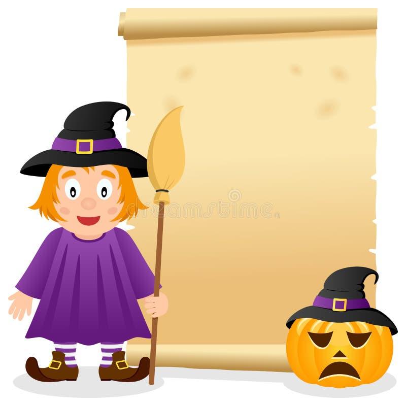 Halloween-Perkament met Leuke Heks stock illustratie
