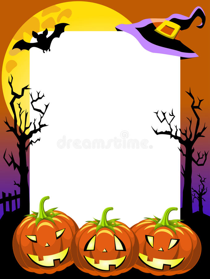 Free Halloween Photo Frame Scary Pumpkins Stock Photography - 32052392