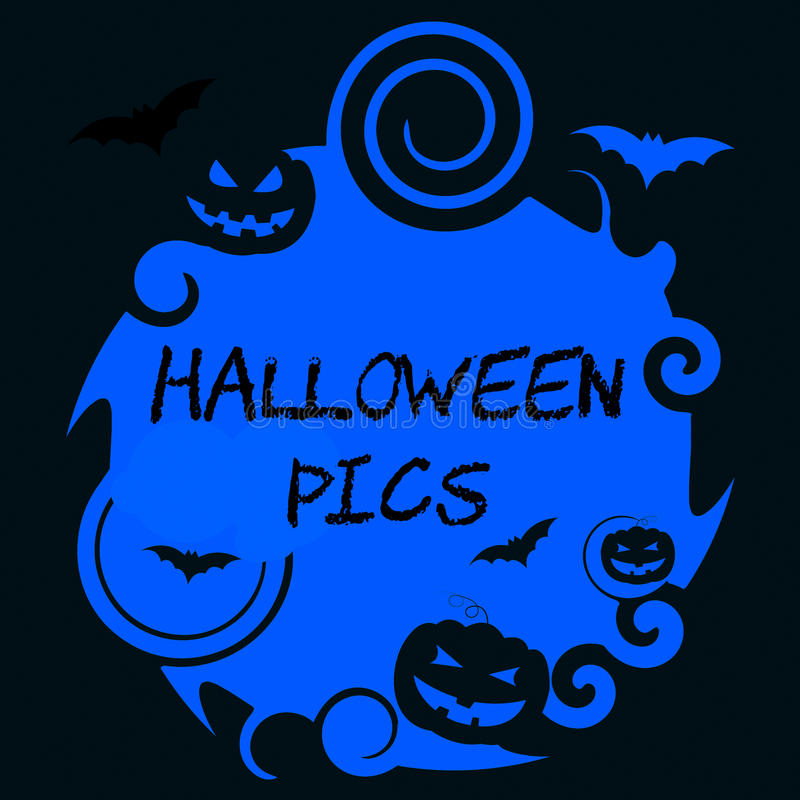 Halloween Pics Means Trick Or Treat And Autumn vector illustration