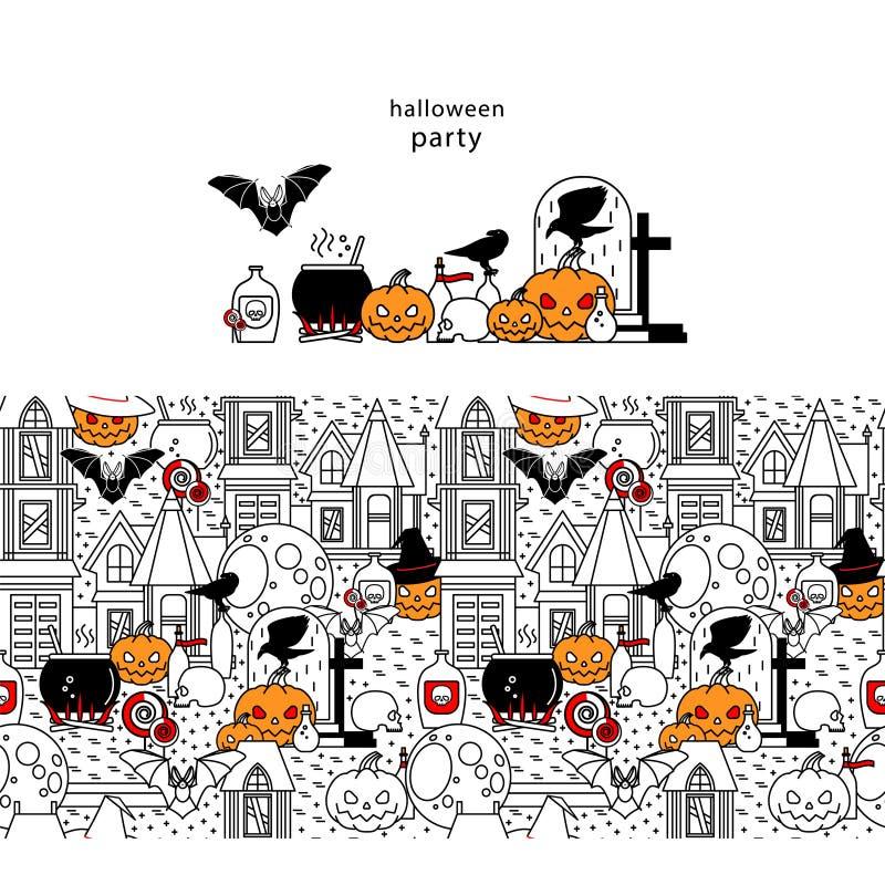 Halloween-pictogram en naadloze structuur royalty-vrije illustratie