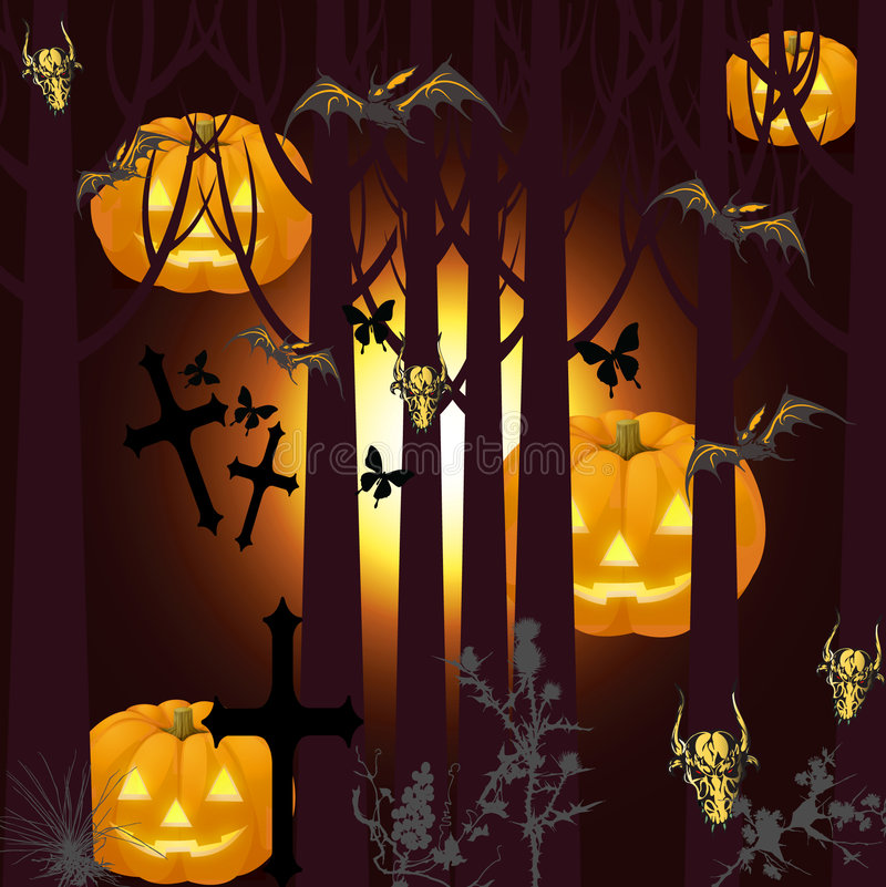 Halloween picture with bats. Jpeg and vector picture - halloween theme, deep forest, pumpkins, crosses and bats stock illustration