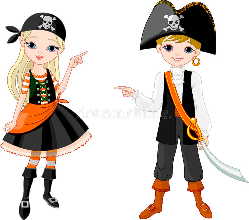 Halloween Pirate couple pointing vector illustration