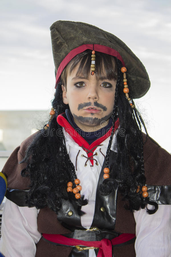 Halloween pirate disguise. In carnival stock image