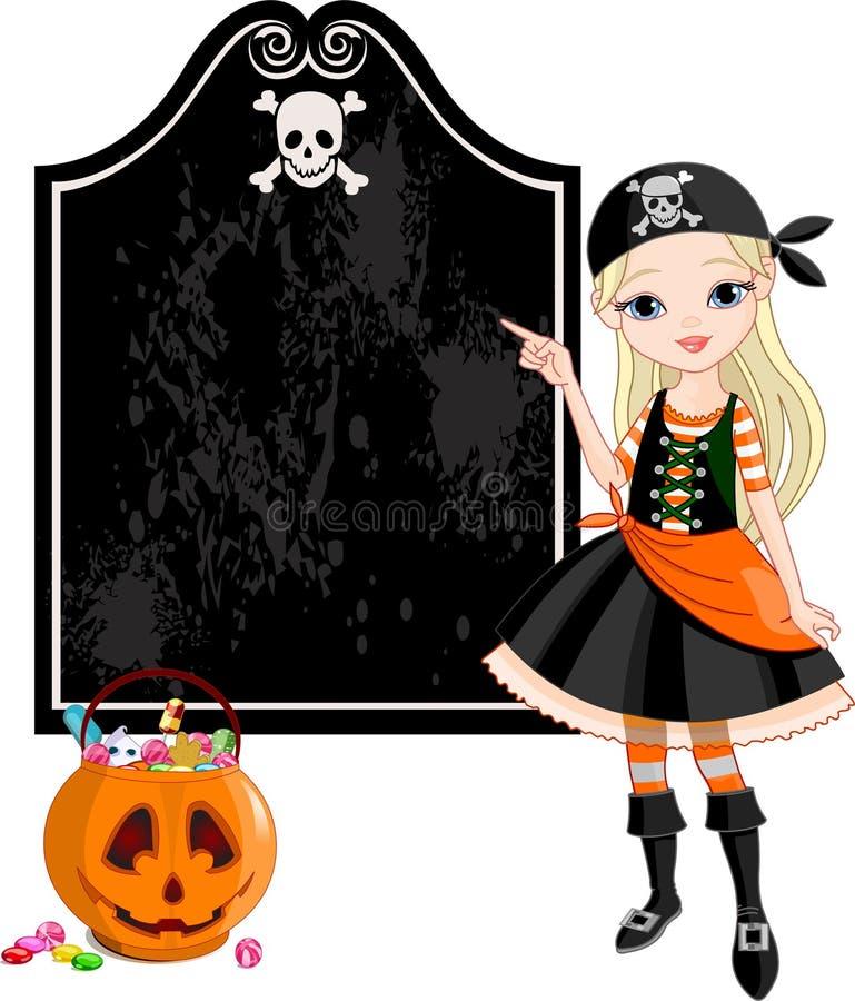 Halloween Pirate girl pointing stock illustration