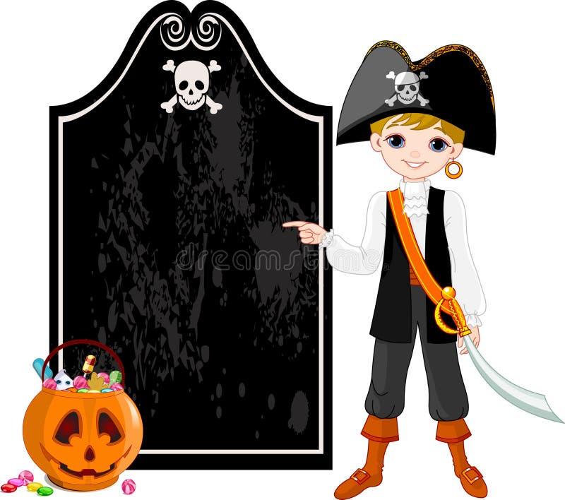 Halloween Pirate pointing vector illustration