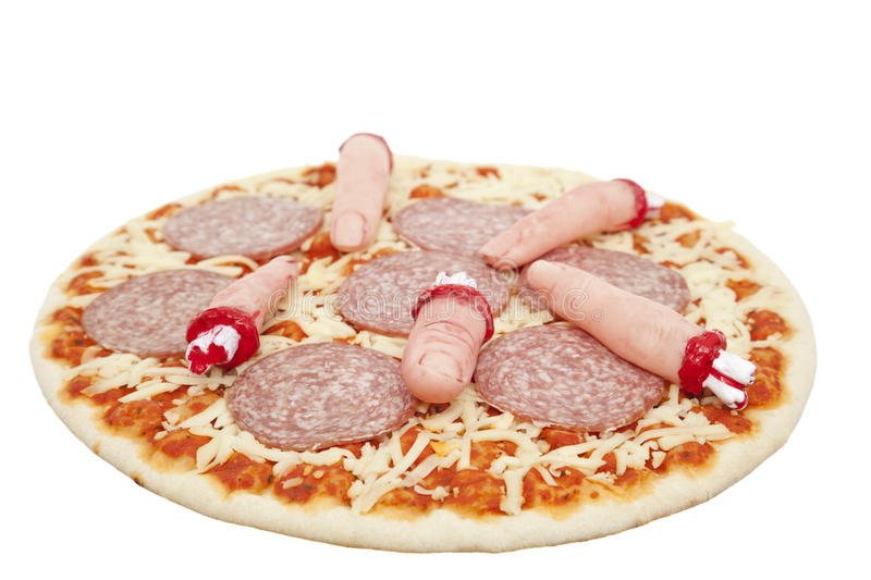 Halloween-Pizza lizenzfreie stockbilder