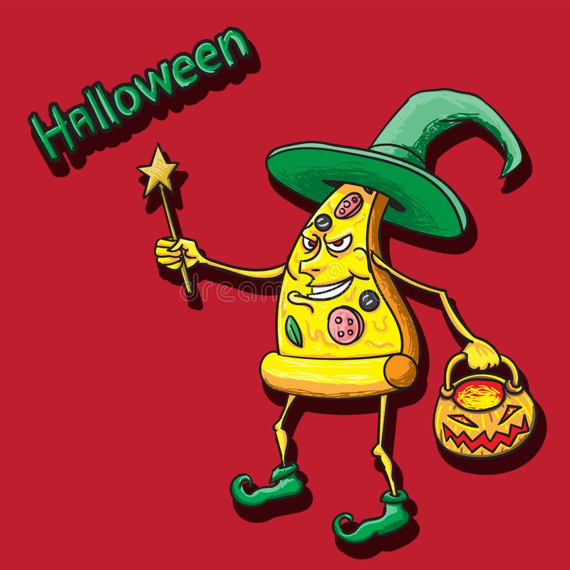 Halloween pizza character in witch hat vintage boots magic wand and pumpkin basket in hand on isolated  background stock illustration