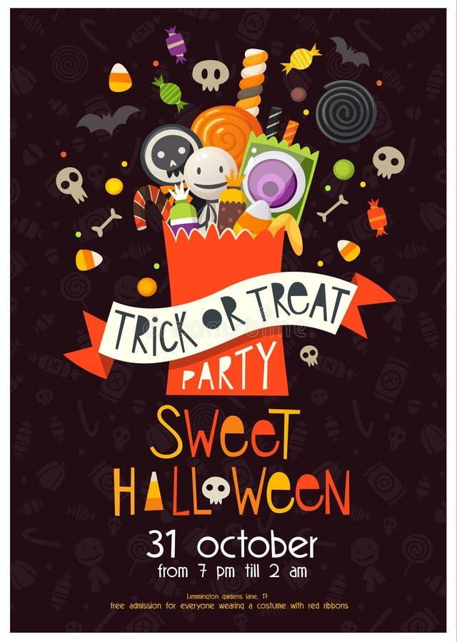 Halloween-Plakat mit Bonbons vektor abbildung