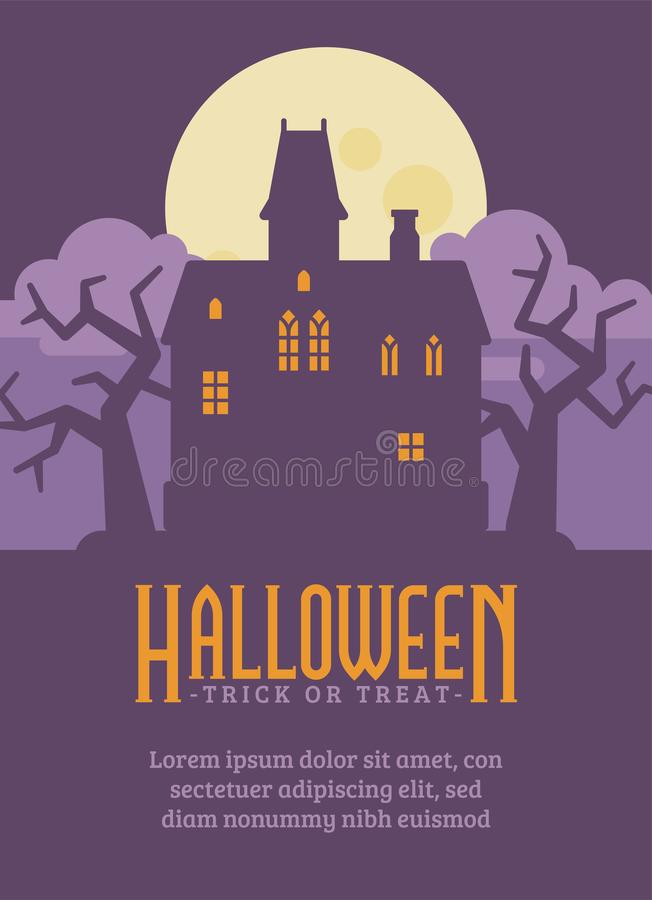 Halloween-Plakat mit verlassener gotischer Villa Altes Haus lizenzfreie abbildung