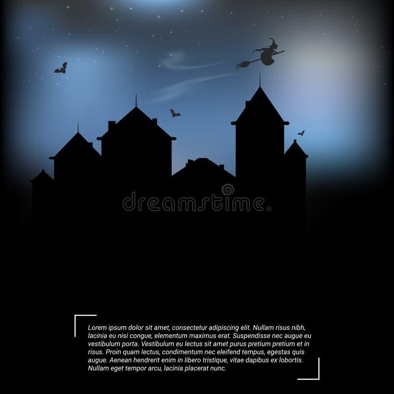 Halloween-Plakatdesign mit Fliegenhexe Auch im corel abgehobenen Betrag lizenzfreie abbildung