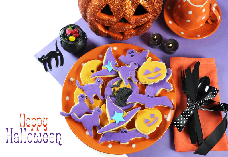Halloween plate of homemade cookies as centerpiece for trick or treat table. royalty free stock photos