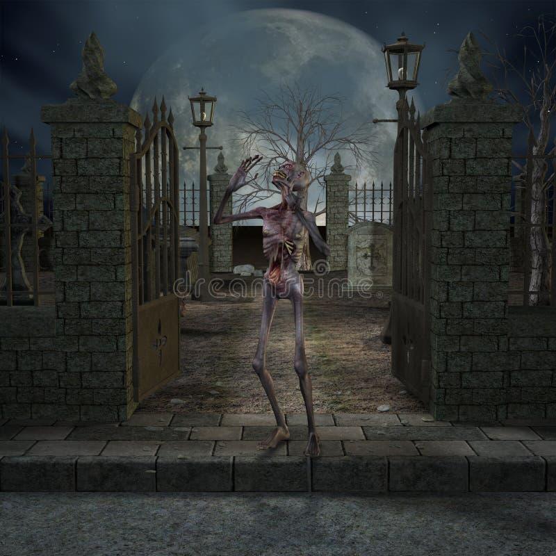 halloween platszombie stock illustrationer