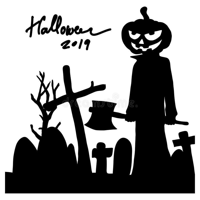 Halloween pomkin man die bijl vasthoudt bij de graveyard silhouette vector illustratie schetch doedle hand getekend met zwarte li stock illustratie