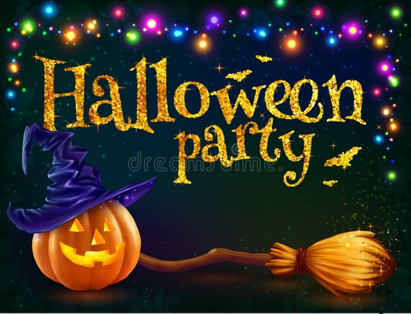 Halloween-pompoen en heksenbezem op donkere achtergrond met kleurrijke lampenslinger, het vectormalplaatje van de partijvlieger royalty-vrije illustratie