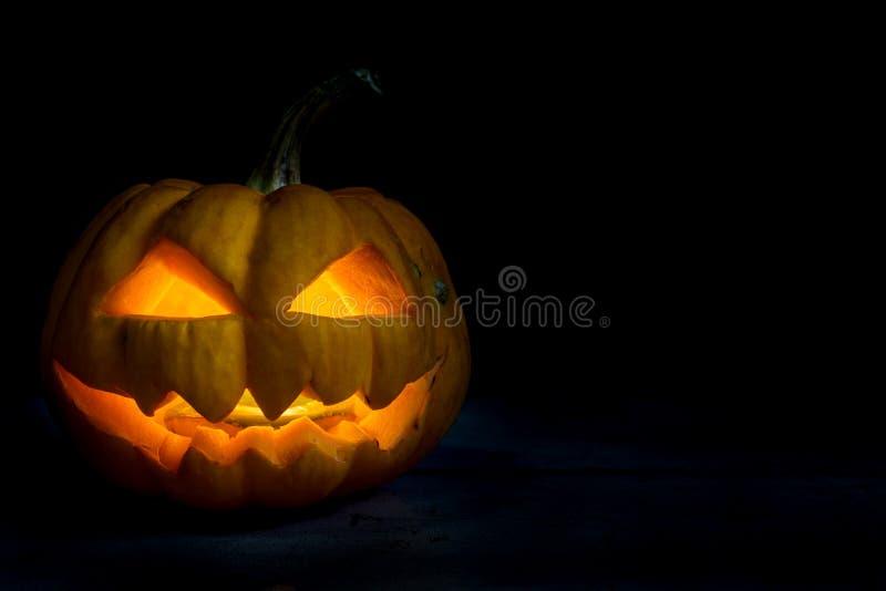 Halloween-pompoen hoofdhefboom in duisternisnacht stock afbeeldingen