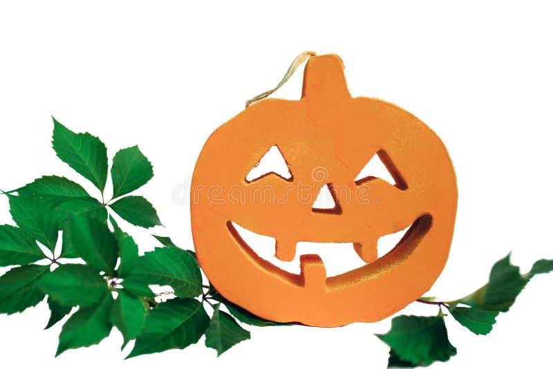 Halloween-pompoen met groene bladeren en witte achtergrond Geïsoleerde royalty-vrije stock afbeeldingen