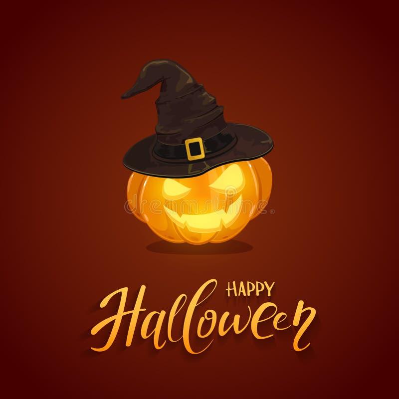 Halloween-pompoen met zwarte heksenhoed op donkere achtergrond vector illustratie