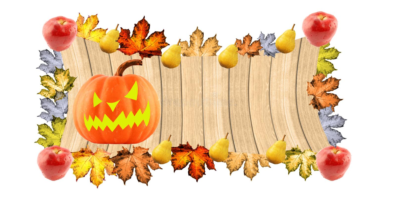 Halloween pompoen op een houten achtergrond stock foto