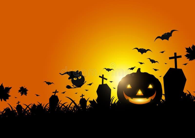 Halloween-pompoen op gras met maanlicht stock illustratie