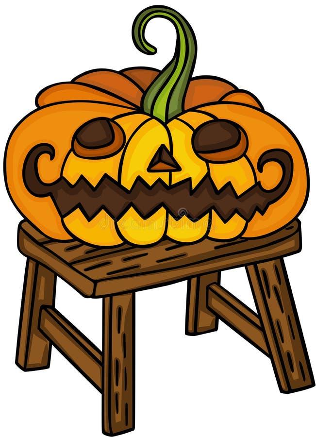 Halloween-pompoen op weinig houten bank stock illustratie