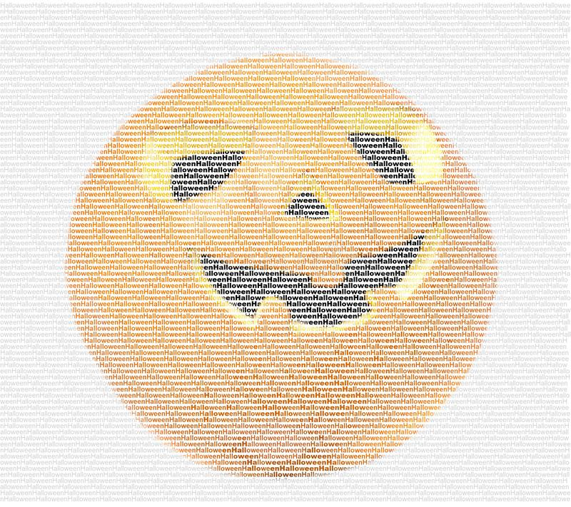 Halloween-pompoenbeeld gemaakt van letters stock afbeeldingen
