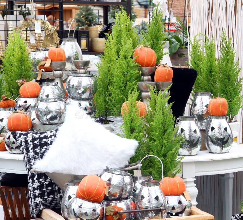 Halloween pompoendisplay royalty-vrije stock afbeeldingen