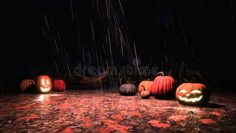 Halloween-pompoenen in de herfstbos bij regenachtige nacht royalty-vrije stock fotografie