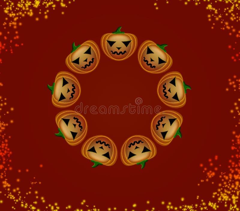 Halloween-pompoenen in een cirkel stock foto