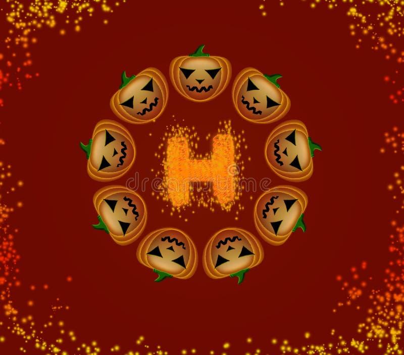 Halloween-pompoenen in een cirkel stock fotografie
