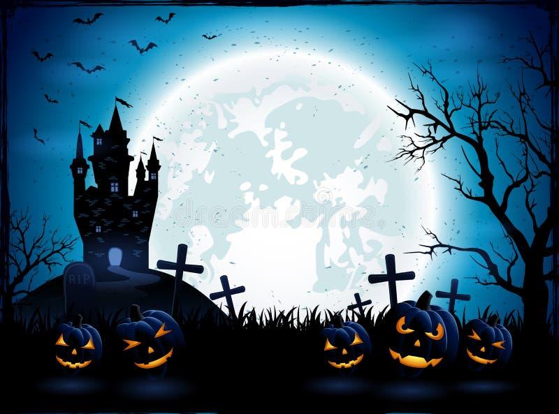 Halloween-pompoenen en donker kasteel royalty-vrije illustratie