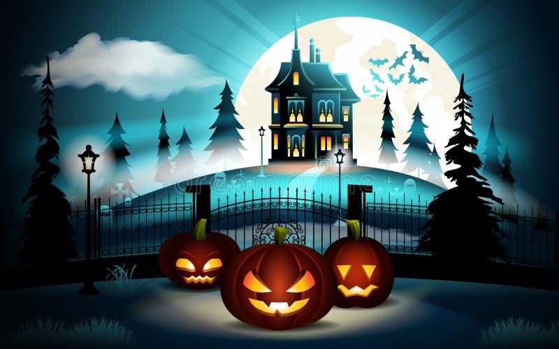 Halloween-pompoenen in kerkhof en donker kasteel op blauwe Maanachtergrond, illustratie stock illustratie