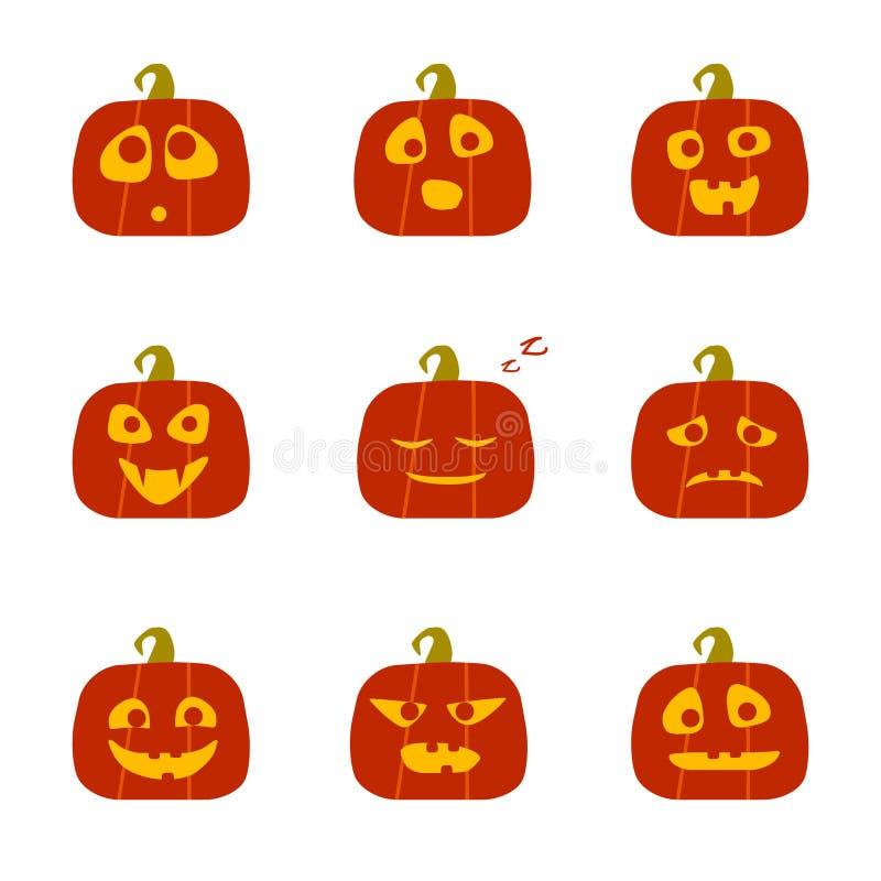 Halloween-pompoenen met verschillende gezichten Een reeks van 9 elementen Vector vlakke pictogrammen Het ontwerp van stickers royalty-vrije illustratie