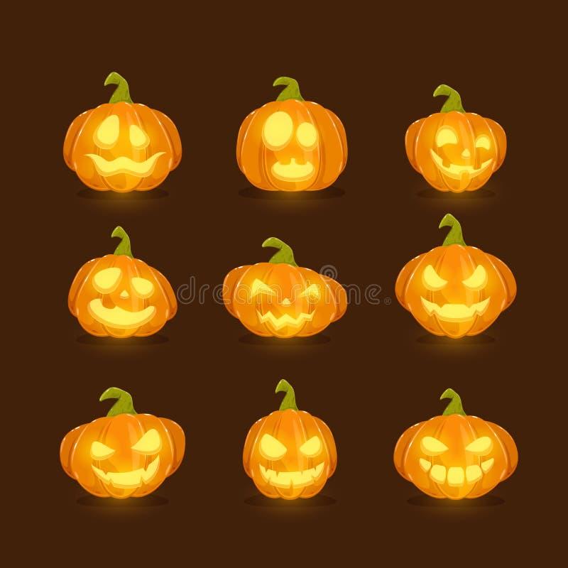 Halloween-pompoenen op donkere achtergrond royalty-vrije illustratie
