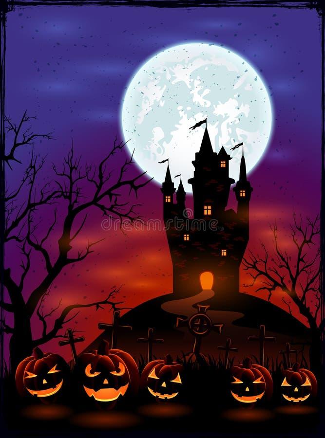 Halloween-pompoenen op donkere achtergrond stock illustratie