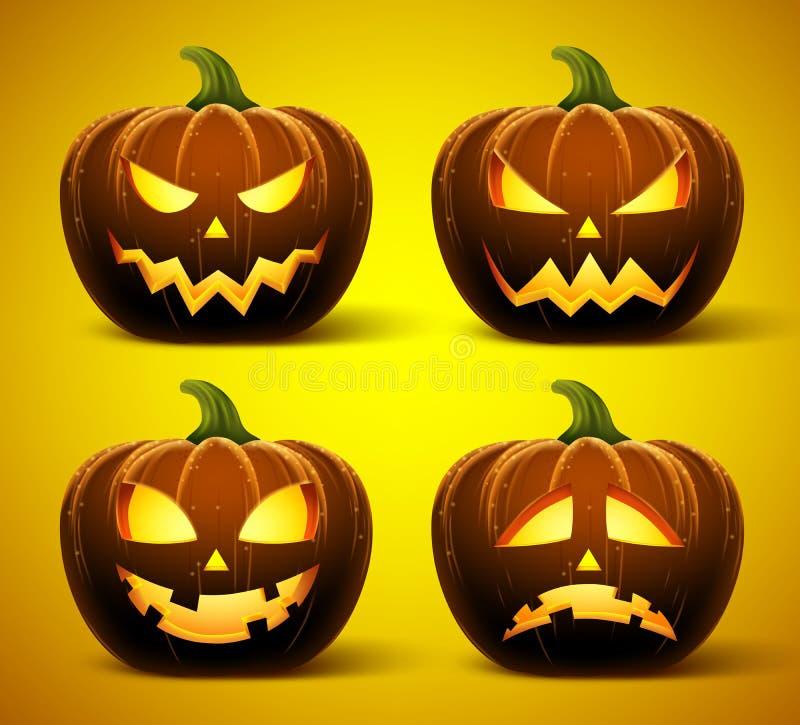 Halloween-pompoenen in vector met reeks verschillende gezichten voor pictogrammen stock illustratie
