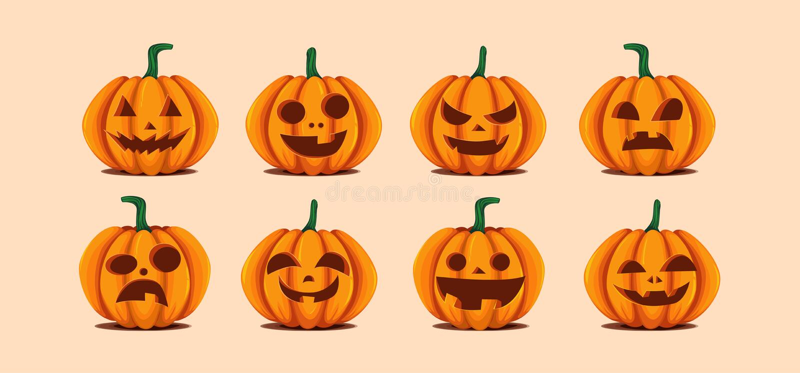 Halloween-pompoenen in vector met reeks verschillende gezichten voor pictogrammen en decoratie op heldere oranje achtergrond Vect vector illustratie