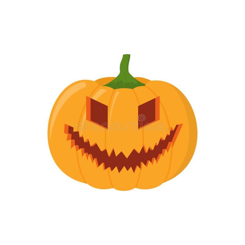 Halloween-pompoenhoofd op witte achtergrond wordt geïsoleerd die stock illustratie