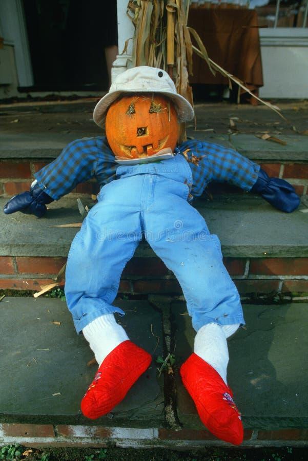 Halloween-Pompoenkarakter, het Zonnebaden Rand, New Jersey royalty-vrije stock afbeelding