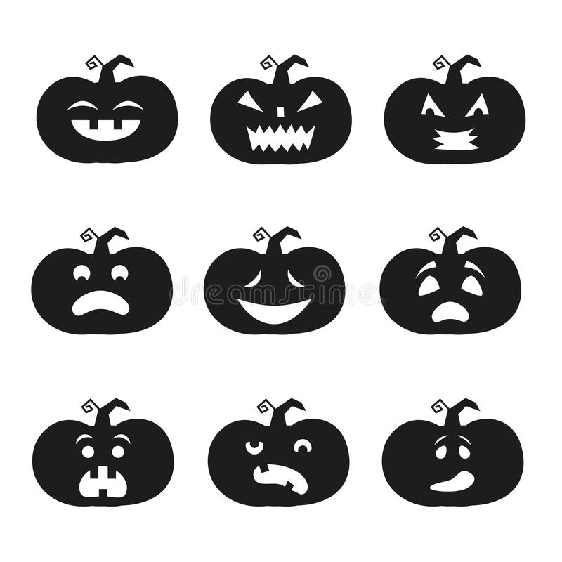 Halloween-pompoenpictogrammen vector illustratie