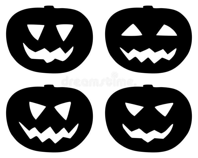 Halloween-pompoenpictogrammen geplaatst die op wit worden geïsoleerd stock illustratie