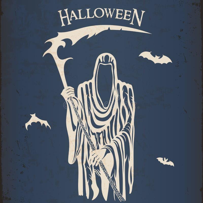halloween ponura żniwiarka royalty ilustracja