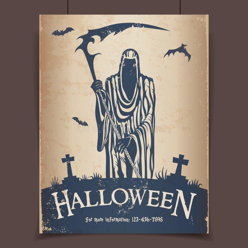 halloween ponura żniwiarka ilustracji