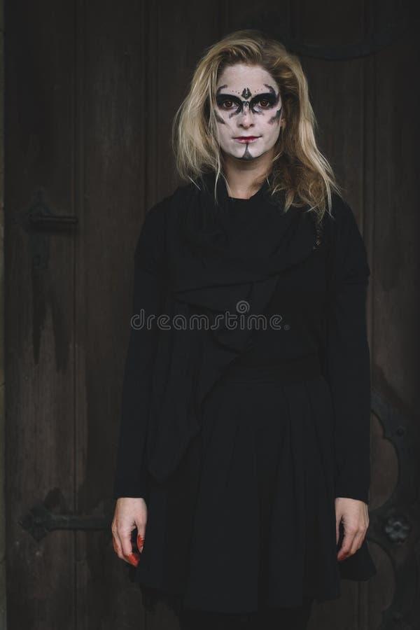 Halloween portrait of creepy woman royalty free stock photos